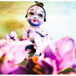 krishna figure all blue with purple flowers and blue green background