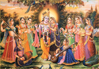 Krsna standing with Radha Lalita Vishaka 8 principal gopi friends in forest under tree with peacocks