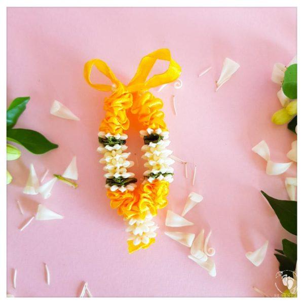 lei garland from ribbon for krishna deity