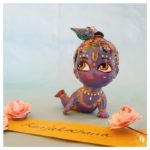 crawling on belly blue krsna deity doll kanjalochana lotus eyed lord with peacock feather for sale
