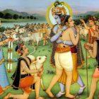 Krishna embracing gopa kumar in spiritual world