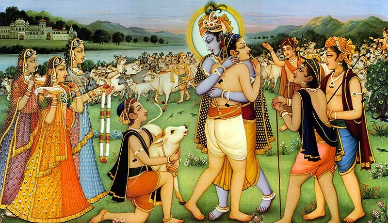 Krishna embracing gopa kumar in spiritual world