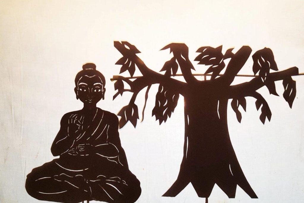 buddha bodhi tree silhouette shadow puppet hindu art incarnation
