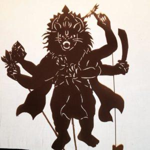 Narasringhadev incarnation of Vishnu Shadow puppet silhouette krsna art show
