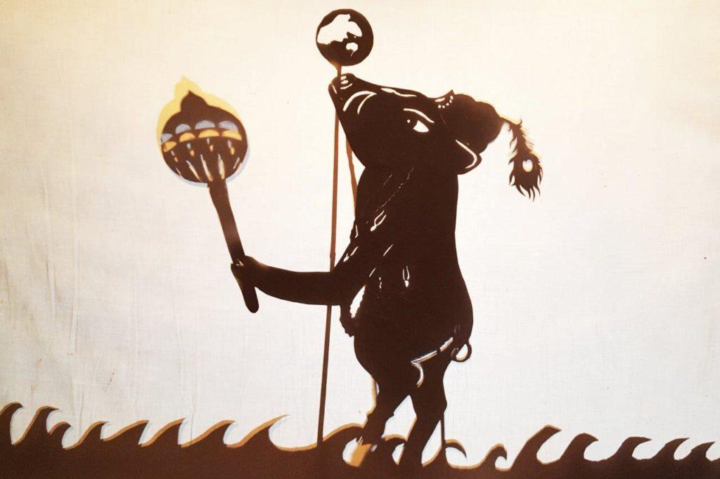 boar incarnation Varaha silhouette shadow puppet