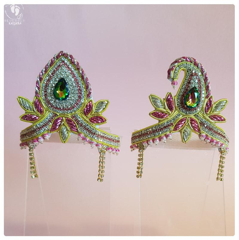 pair adorned opulent mukut crowns for radha krsna dolls