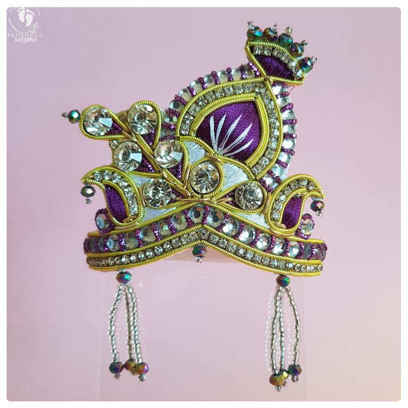 purple gold and stonework shining crown for Radha krsna