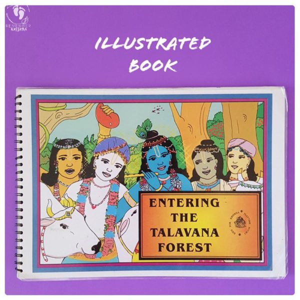 Krishna story book illustrated volume for kids original art of krishna balaram his friends and cows on a purple background dhenukasura story
