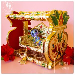 Tulip shaped swing for Radha krsna dolls and swing beaded handle meenakari work on pink background swing for krsna