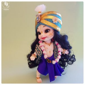 Balaram poseable bjd doll with blue turban, white feather, ornaments, silk flower garland, blue dhoti