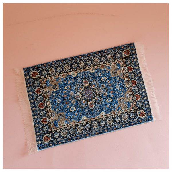 oriental minature blue rug carpet