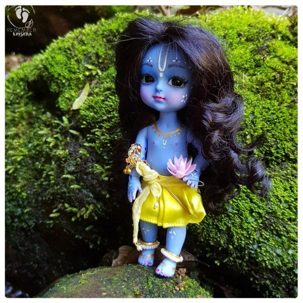 bjd krishna doll poseable with blue body and curling lush hair